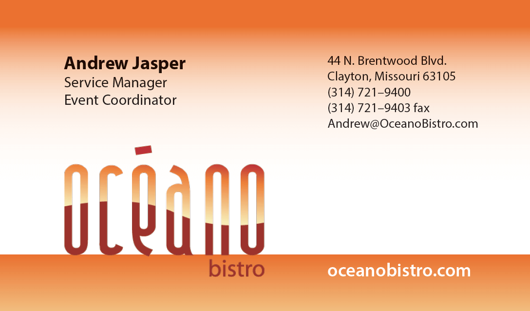 Seafood restaurant business card front; Clayton, Missouri