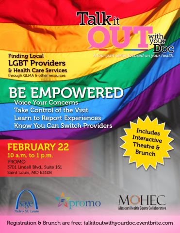 Talk it OUT with your Doc flyer about LGBT health literacy