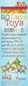 Seafood restaurant banner promoting its fundraising and toy collection event for the Ronald McDonald House in St. Louis, Missouri; Clayton, Missouri