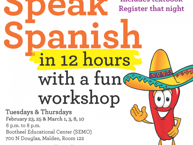 Flyer for Conversational Spanish Course in Malden, Missouri