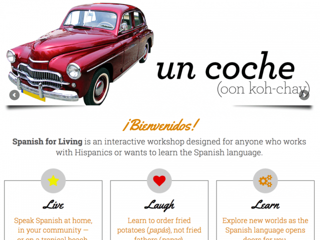 Spanish for Living Website with car (un choche) slider