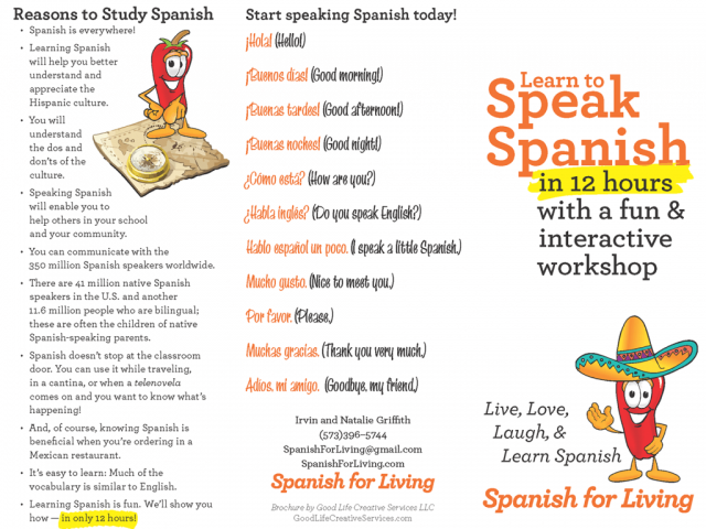 Brochure for Spanish for Living Conversational Spanish Course (Cover)