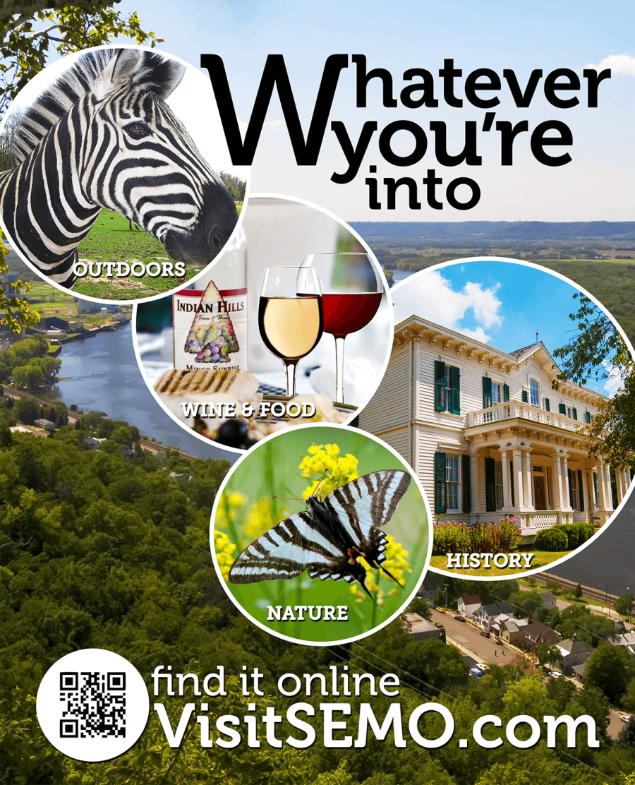 Ad to encourage visitors to Southeast Missouri, featuring a zebra, wine, butterfly, flowers, an antebellum house, and the Mississippi River