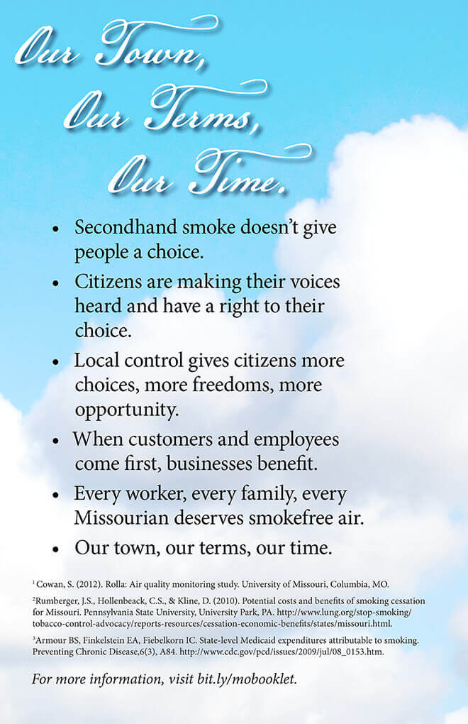 Tobacco Free Missouri Booklet: Our Town, Our Terms, Our Time