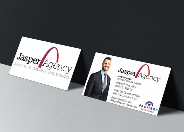 Business Cards (front and back) for the Jasper (Insurance) Agency