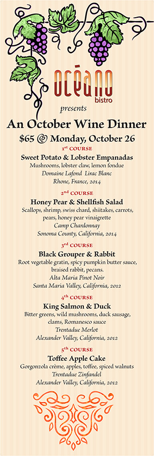 Seafood restaurant banner promoting its October Wine dinner specials as lobster empanadas, shellfish salad, rabbit, duck, and toffee apple cake; Clayton, Missouri