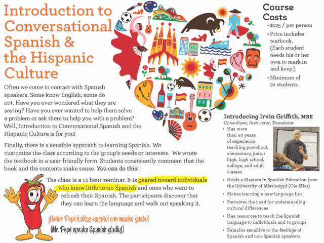 Brochure for Spanish for Living Conversational Spanish Course (Inside)